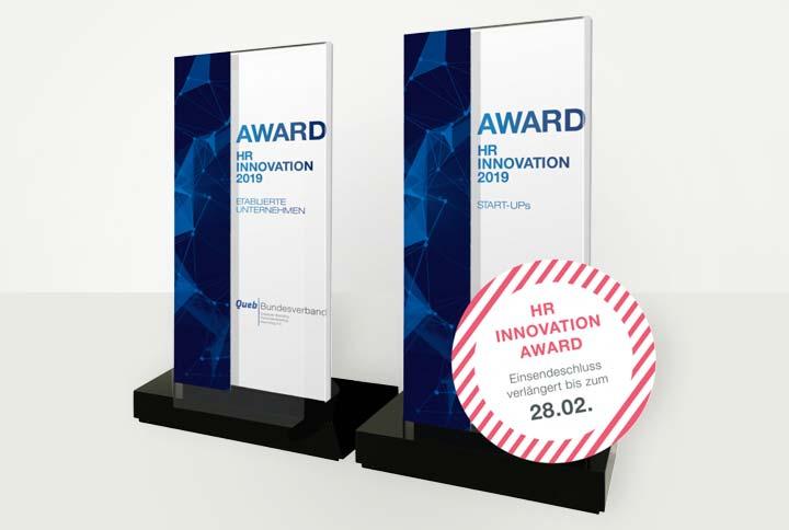 Fristverlängerung der Bewerbung bis 28.02.2019: Queb HR Innovation Award 2019