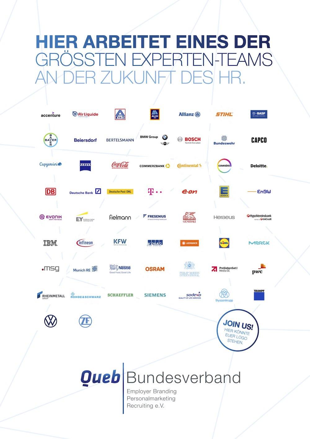 Hier arbeitet eines der größten Experten-Teams an der Zukunft des HR: Queb | Bundesverband für Employer Branding, Personalmarketing und Recruiting e. V.