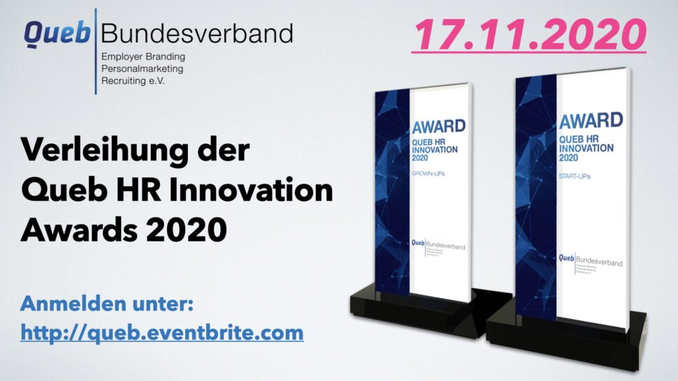 Verleihung der Queb HR Innovation Awards 2020 – virtuell, öffentlich und kostenlos!