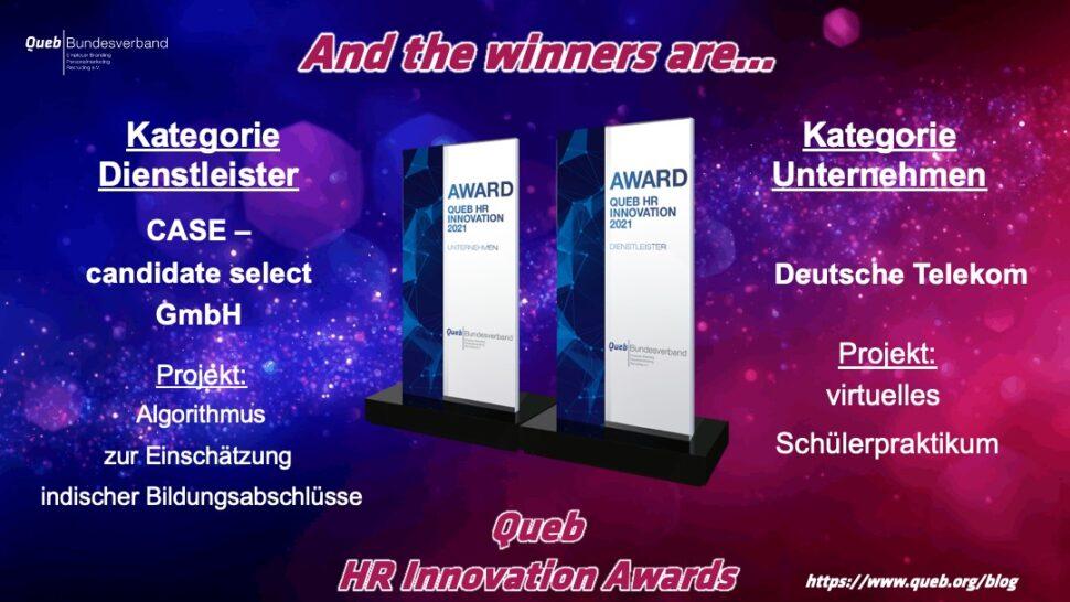 Queb HR Innovation Awards 2021: Alle Gewinner und Bewerber in der Übersicht